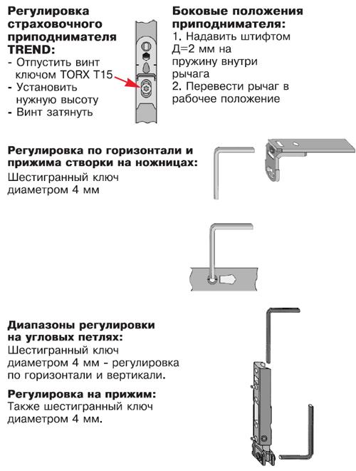 Регулировка фурнитуры окна Maco