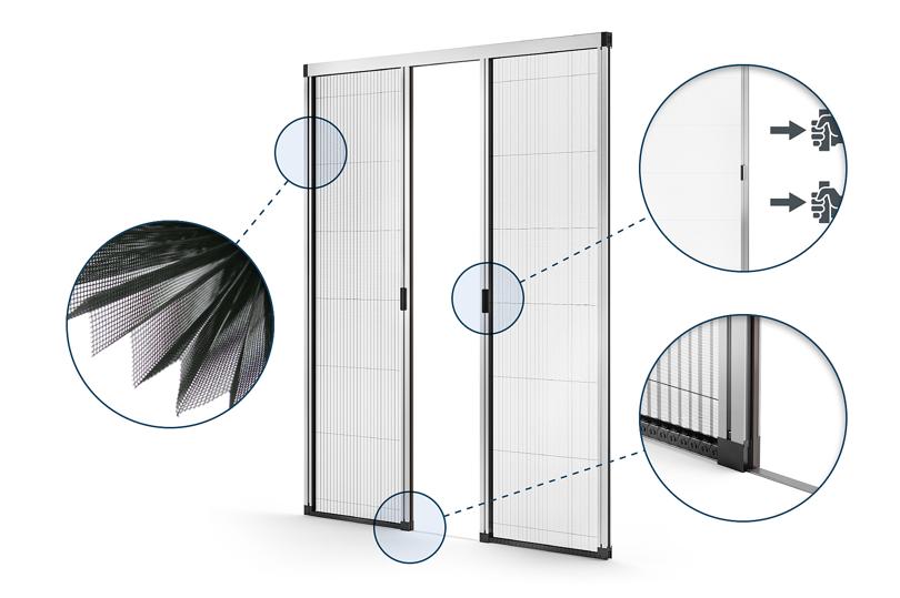 Конструкция раздвижной москитной стеки на дверь