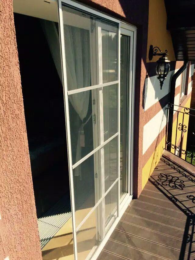 Москитная дверная сетка сдвижного типа открыта